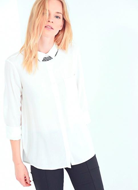 People By Fabrika Uzun Kollu Gömlek Beyaz